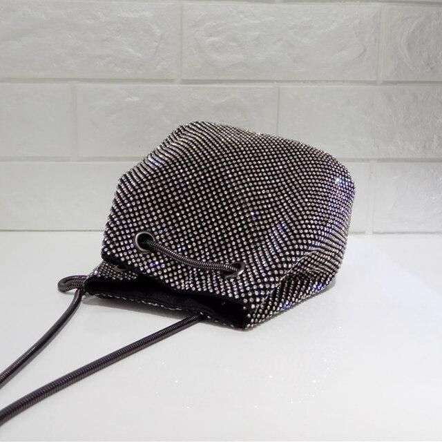 DOYUTIG Brand Shining Women PU Leather Bucket Bags With White Diamond Luxury Lady Mini Size Crystal Shoulder&Crossbody Bag A202 3