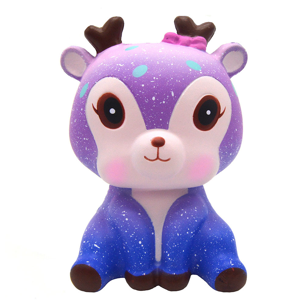 Kawaii Squishy Slow Rising Deer Pendant Toys Charms Kids Toy Cute Relieves Stress Anxiety Galaxy Bread Scented Animal KidS Toys