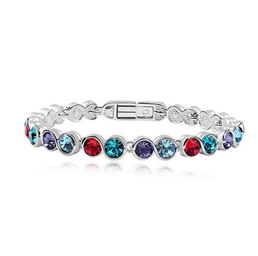 Østrigske krystal smykker rustfrit stål armbånd sølv farve sten armbånd acier inoxydable femme