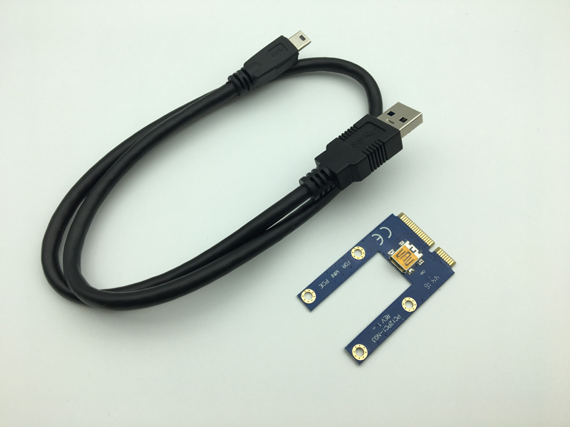 цена на Mini PCIe Riser PCI Express 1x to 16x for Laptop External Graphics Card GDC Miner mini PCIe to PCI-e Extension Cable Riser Card