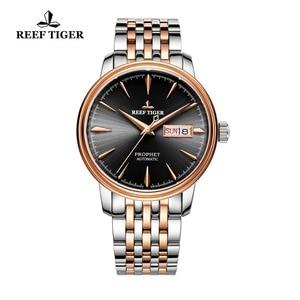 Image 1 - Reef reloj con vestido de tigre para hombre, automático, de lujo, reloj de oro rosa, fecha, día, masculino, 2020