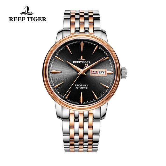 Reef reloj con vestido de tigre para hombre, automático, de lujo, reloj de oro rosa, fecha, día, masculino, 2020
