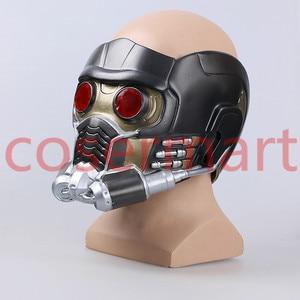 Image 4 - Cos người bảo vệ của galaxy đội mũ bảo hiểm cosplay peter quill đội mũ bảo hiểm PVC với Led Ánh Sáng Sao The Lord Of The Helmet Halloween Mặt Nạ Bên người lớn