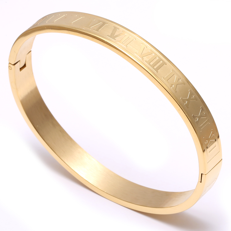 Mcllroy Stainless Steel Roman Numeral Bangle Bracelet For