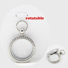 New Arrival! Pocket watch design! 30mm magnetic closure silver 316L stainless steel floating memory locket with czech crystals