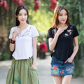 Plus size ethnic m-4xl white black plum blossom embroidery cotton t-shirt for women summer Chinese style brand t shirt tee