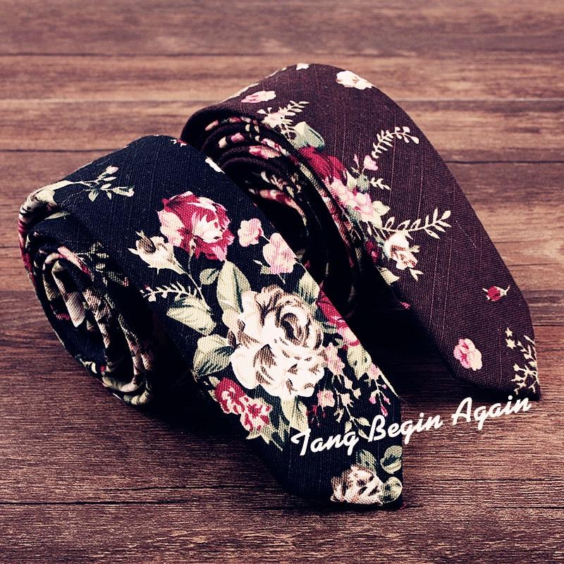 New Man/'s Cotton Floral Tie Neck Tie Wedding Party Necktie Narrow Slim Skinny