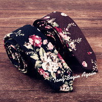 Cotton Tie for Mens 2017 Unique Designer Floral Ties Slim High Quality Wedding Flower Neck Tie Party 5cm Narrow Skinny Neckties