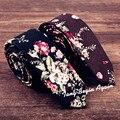 Lazos Lazo de algodón para Hombre 2016 de Flores de Diseño Único Delgado de alta Calidad de la Flor de La Boda Partido 5 cm Estrecho Flaco Corbata corbatas