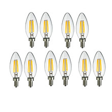 Filament Candle Light Bulb E14 220V 4W C35 Edison Bulb Retro Antique Vintage Style White Warm White 360Degree LED Filament light цена
