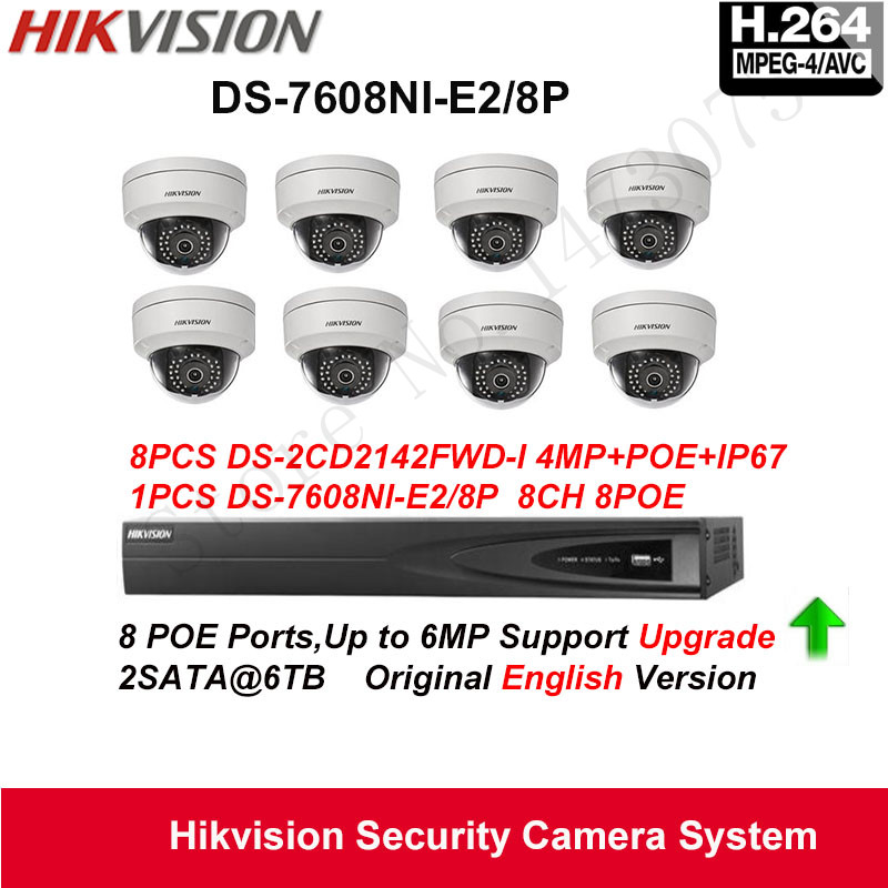 Hikvision Security Camera System 4MP IP Camera 8pcs DS 2CD2142FWD I POE IP67 with 8ch POE