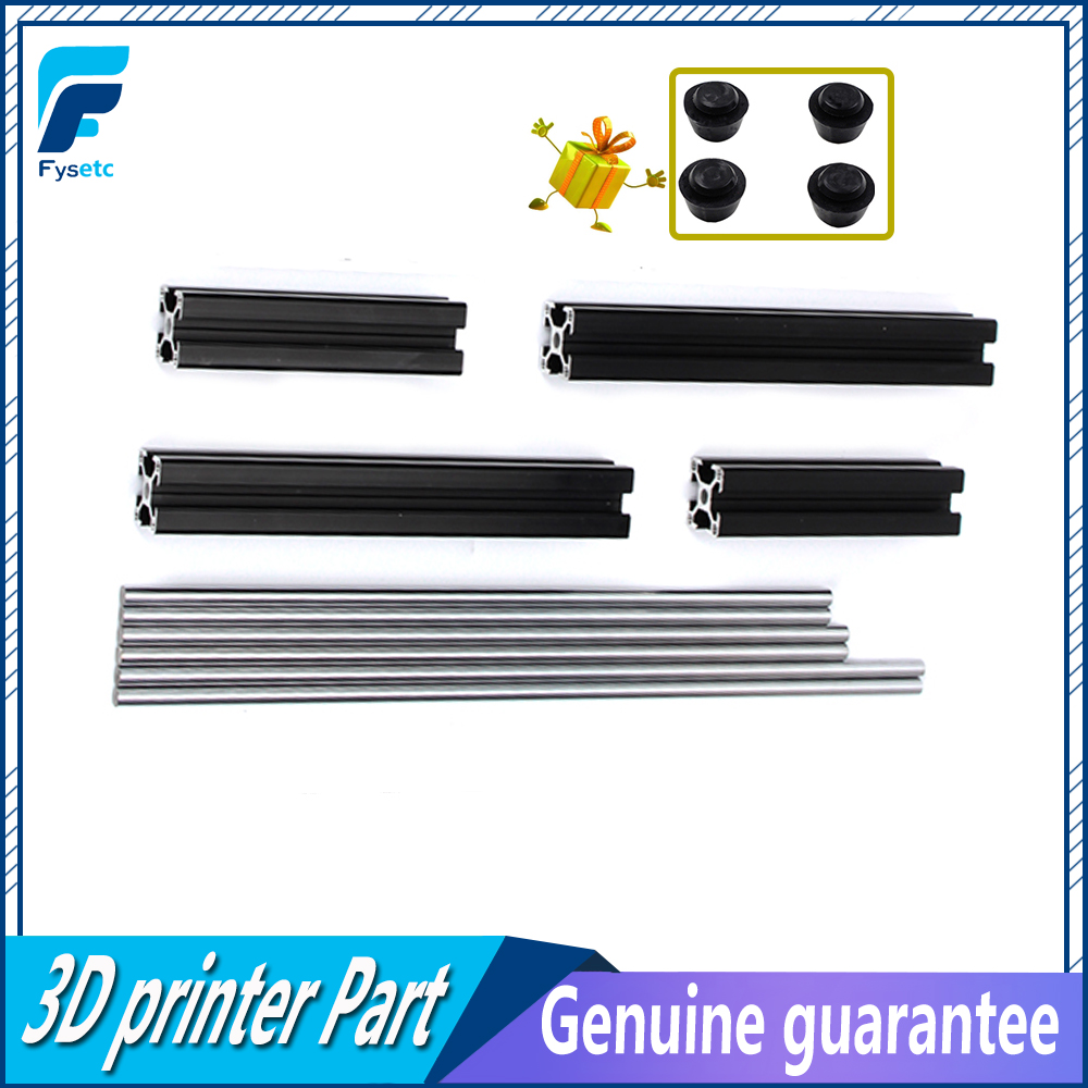 1Set Black Aluminum Profile Prusa I3 MK3 Aluminum Extrusion Profile 3030+Smooth Rods Kit 6pcs For Prusa i3 MK3 3D Printer prusa i3 mk3 bear upgrade 2040 v slot aluminum extrusions mk2 bear aluminum extrusions kit