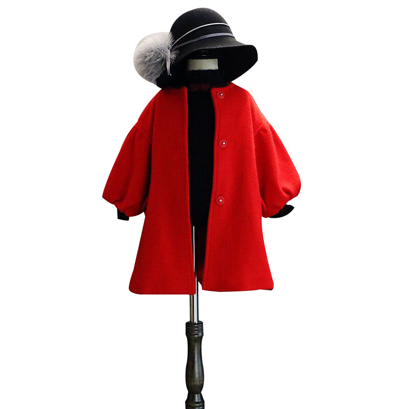 DFXD Children Wool Coat Winter New Fashion Kids Girls Red Long Single-breasted Thick Outwear With Belt Toddler Warm Coat 2-8Year