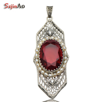 Szjiano Ancient Punk European Royal Ruby Classic Natural Pearl Necklace Pendant 925 Sterling Silver Vintage Pendant