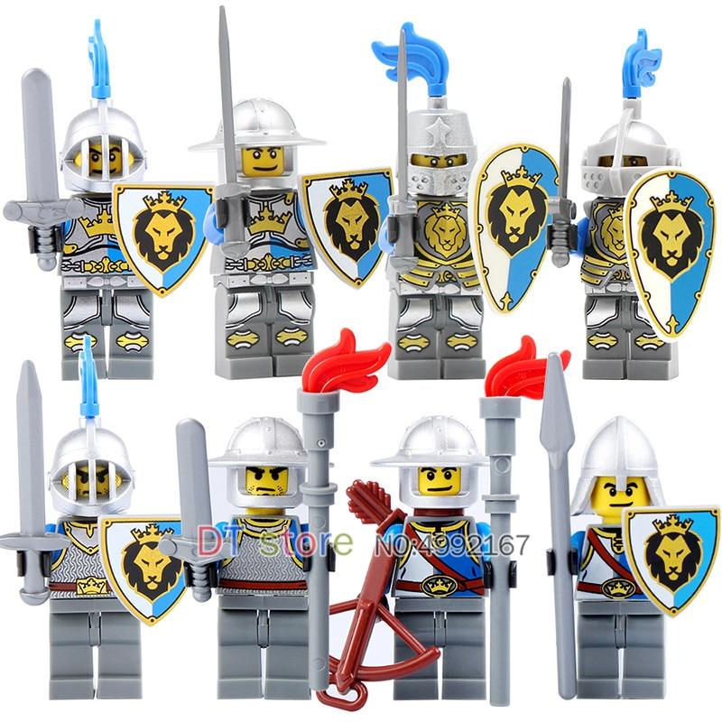 Azul León Unidslote Las Legoing Caballero 8 Figuras Medieval Con Del Armas Castillo Ejército OXPuikTZ
