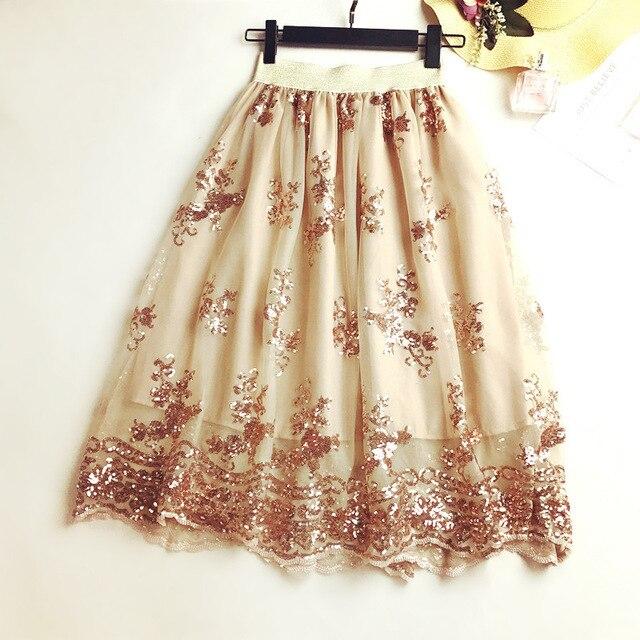 Aliexpress Buy 2018 Spring Women Sequin Embroidery Skirt Gauze