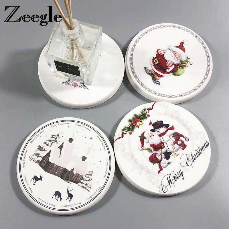 Zeegle Mug Drink Coaster Christmas Style Coffee Cup Mat Tea Pads