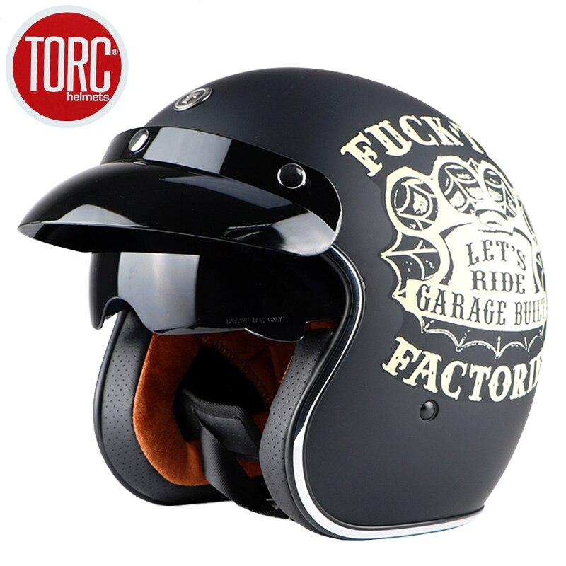 Livraison gratuite marque de mode TORC vintage moto casques mat noir capitaine amérique lunettes rétro Vintage Style ECE - 3