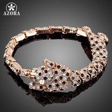 AZORA Brand Design Rose Gold Color Stellux Austrian Crystal The Tiger Design Bracelet TS0015(China)