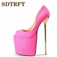 SDTRFT Plus:45 46 47 48 49 50 New Stilettos platforms Flock Sandals 22cm Metal Thin heels shoes woman Crossdress wedding pumps