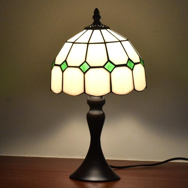 Tiffany Style Table Desk Lamps 8inches White Green Accent Small Mini