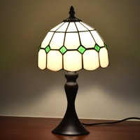 Tiffany Style Table Desk Lamps 8inches White Green Accent Small Mini Stained Glass Lamp Shade Night Lights for Bed Rooms on sale
