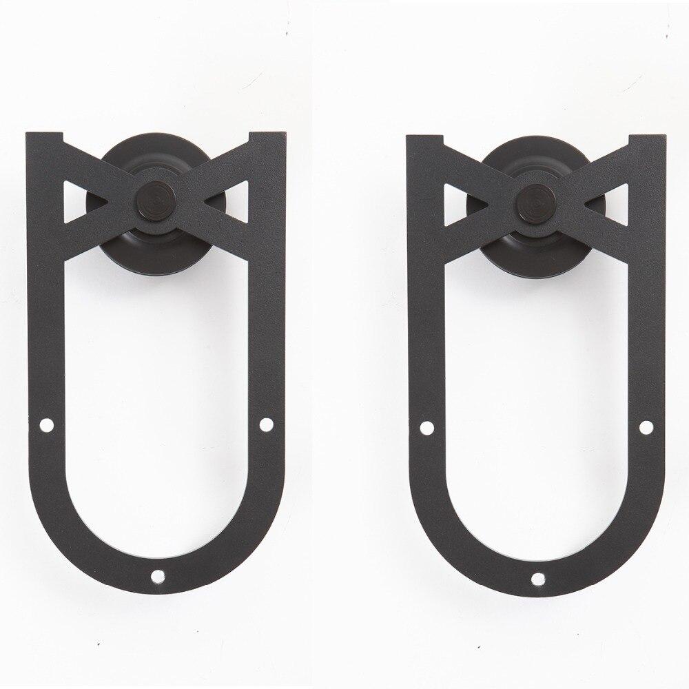4.9FT/6FT/6.6FT en acier au carbone noir rustique Fer À Cheval coulissante grange quincaillerie de porte piste pour porte coulissante - 5