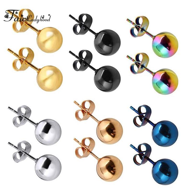 FairLadyHood Stainless Steel Silver Black Gold Rose Color Ball Stud Earrings Punk Ear Tragus Ear Piercing Fake Taper For Women