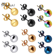 FairLadyHood Stainless Steel Silver Color Black Gold Rose Color Ball Stud Earrings Punk Ear Tragus Ear Piercing Fake Taper