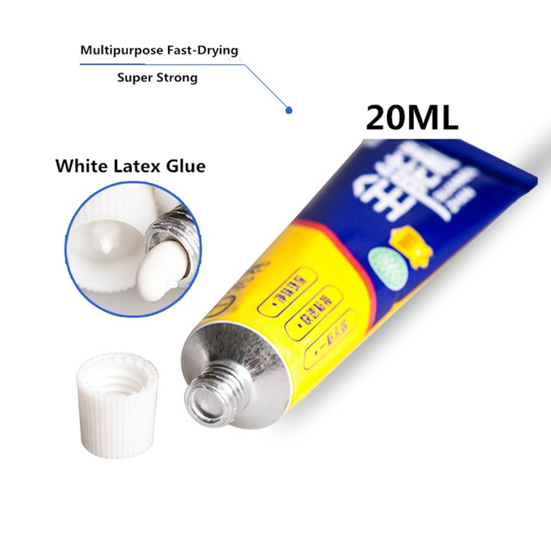 20ml Super Strong Fast Dry Liquid White Latex Glue Office Home Supply Glass Metal Rubber Wood Waterproof Multipurpose Adhesive