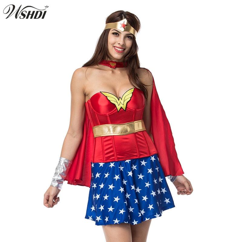 2017 Adult Super Girl Ladies Wonder Woman Costume Halloween Cosplay Women Supergirl -5292