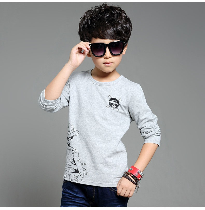 anime Skull sprinted kid t-shirt for boys clothes t-shirt long sleeve white gray cartoon children tops tees boys spring autumn 2017 new clothing (15)