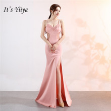 Its Yiiya Sequined Evening Dresses pink Deep V Sleeveless backless Party gowns Mermaid Beading zipper back long Prom dress C107