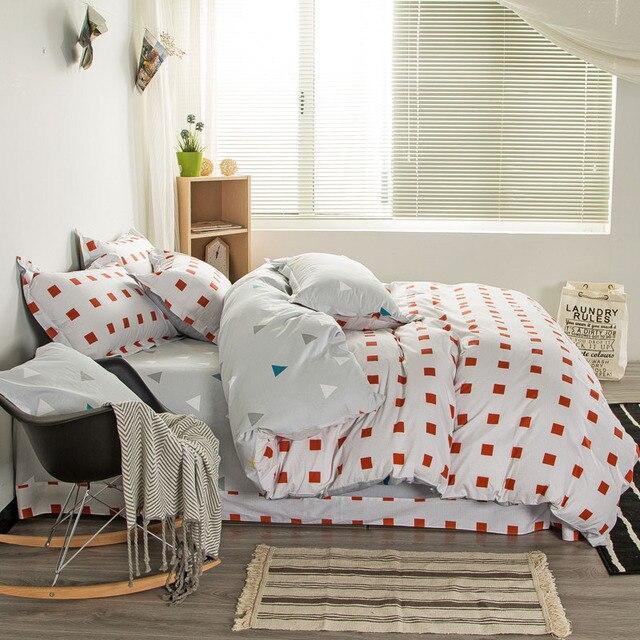100 Cotton Home Textile 4pcs Bedding Sets Squares Triangle Plaids Duvet Cover Ties Inside Bed