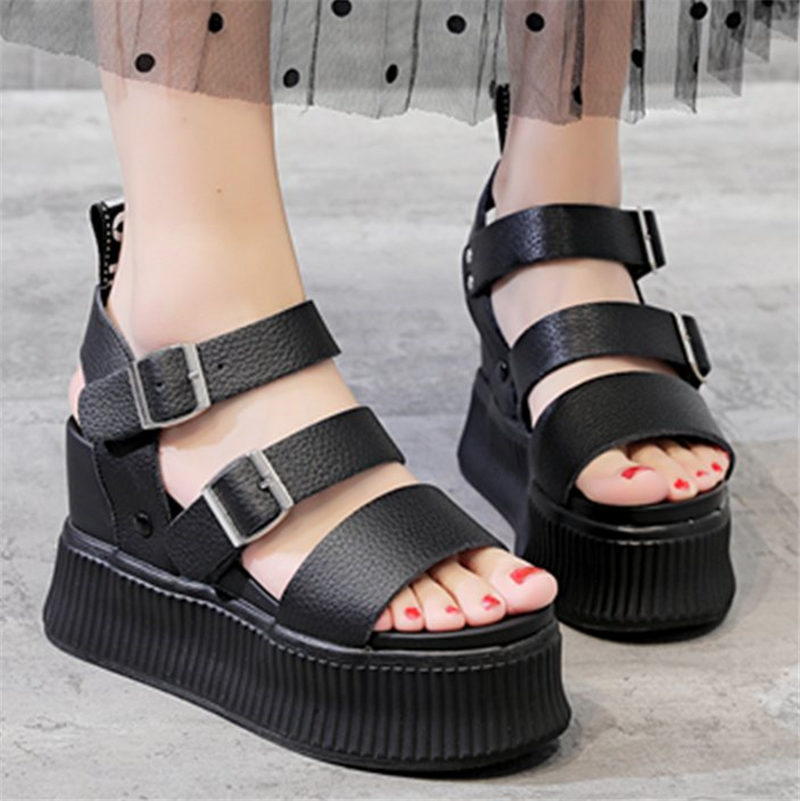 NAYIDUYUN Sport Sandals Shoes Women Cow Leather Platform ...
