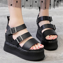NAYIDUYUN  Sport Sandals Shoes Women Cow Leather Platform Wedges Gladiators High Heel Strappy Fashion Summer Sneakers