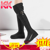 KemeKiss Warm S Boots Women Real Leather Plush Fur Women's Shoes snow Boots Over Knee Shoes Women Winter New size 35 44