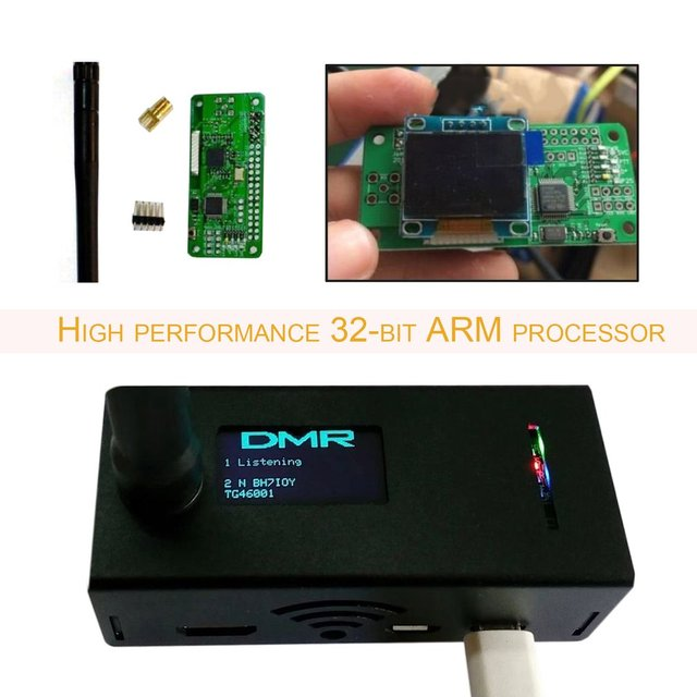 Portable Size OLED Display Aluminum Signal Receiver MMDVM hotspot Support P25 DMR YSF + raspberry pi +OLED +Aerial+ Case