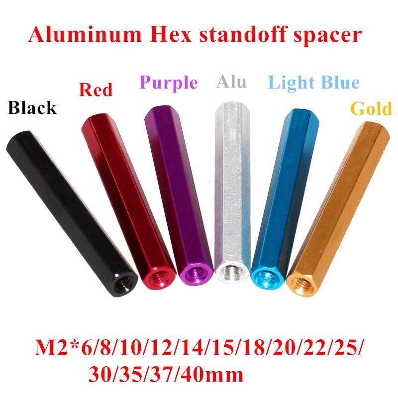 10pcs M2 aluminum standoffs M2*6/8/10/12/15/18/20/22/25/30/35/37/40mm OD=4mm Aluminum Hex Standoff spacer Screws for RC Parts