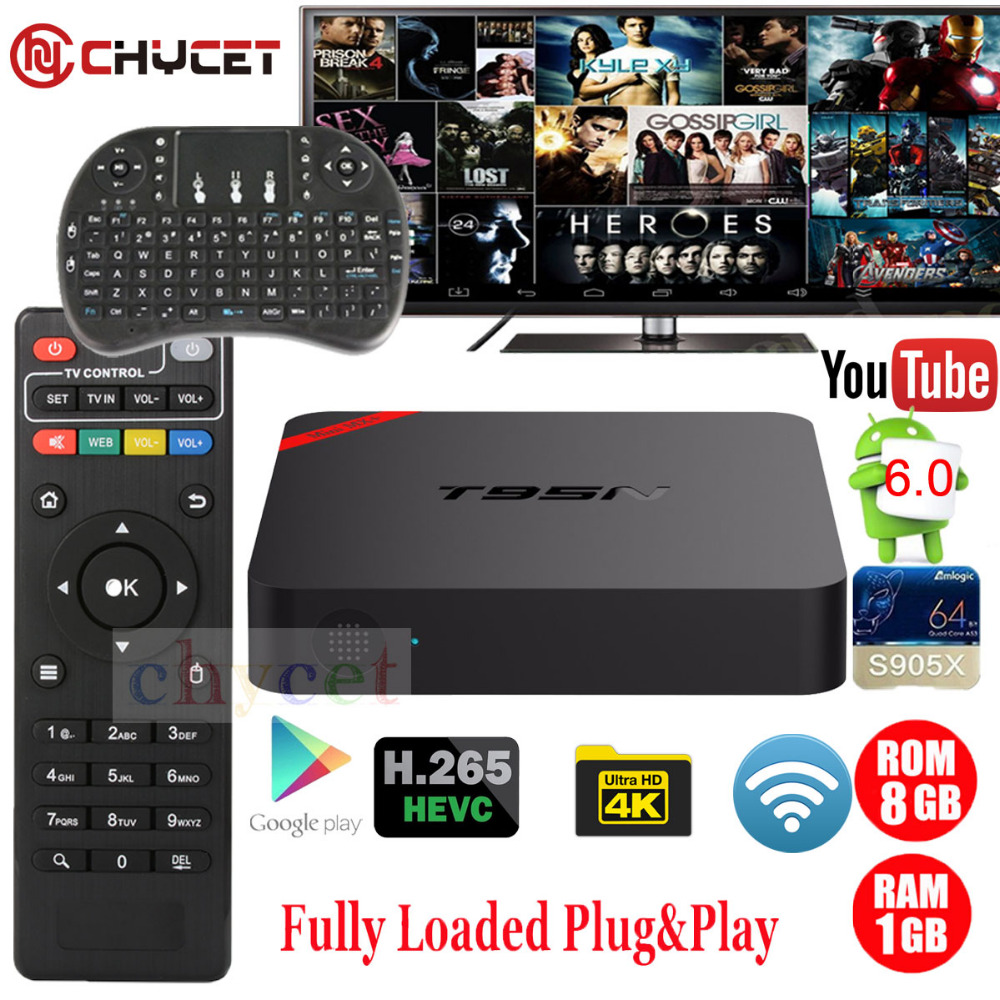 Prix pour T95N mini MX + 1G 8G Android 6.0 TV BOX Amlogic S905X 64 peu Quad Core WIFI 4 K 3D H.265 IPTV Smart TV Box Set-top box PK X96