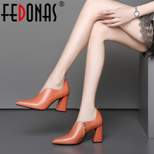 FEDONAS Fashion Sexy Pointed Toe Party Wedding Shoes Woman Square Heels Zipper Pumps Genuine Leather Basic Pumps Ladies New Shoe