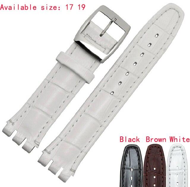 Высококачественный роскошный черный /коричневый 17мм /19мм водонепроницаемый ремешок для часов, из натуральной кожи, с тиснением под крокодиловую