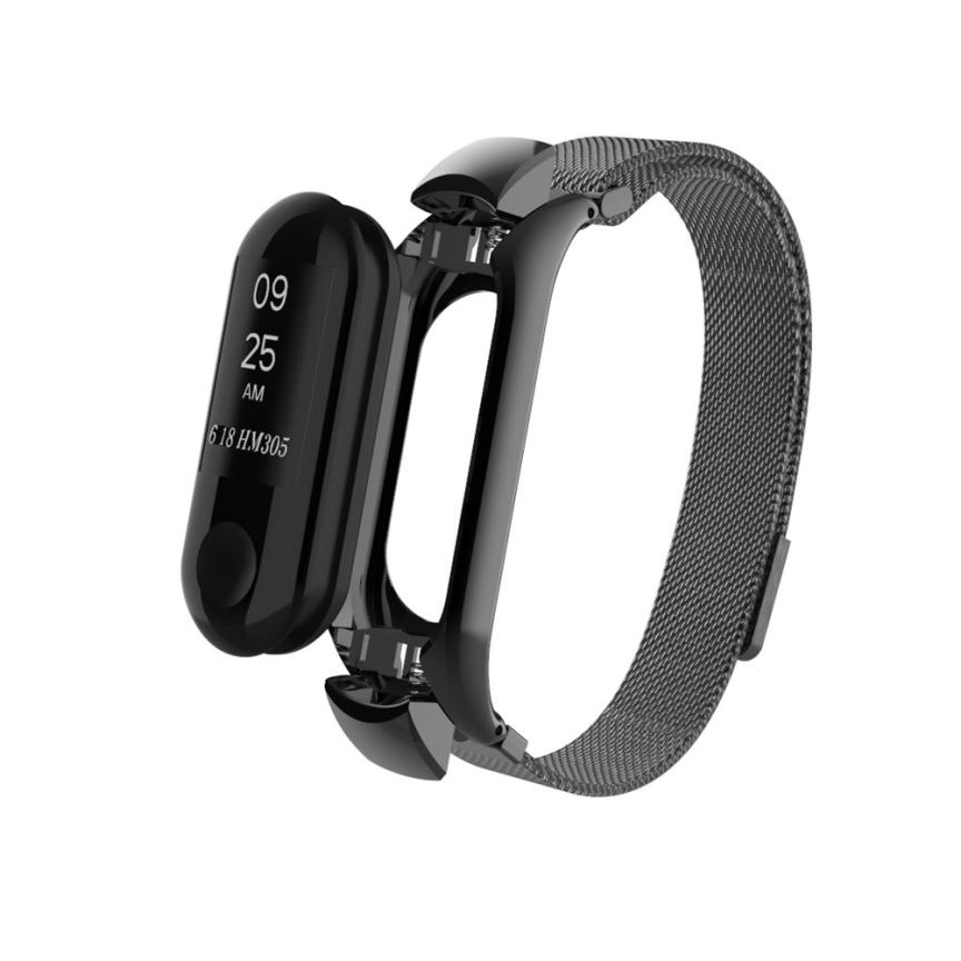 Wrist Strap Bracelet for Xiaomi Mi Band 3 Stainless Steel Milanese Magnetic Loop Band Smart Watch 18Jul10 for huawei honor 3 wrist band strap sport bands milanese stainless steel band quick release smart bracelet for smart watch ja08