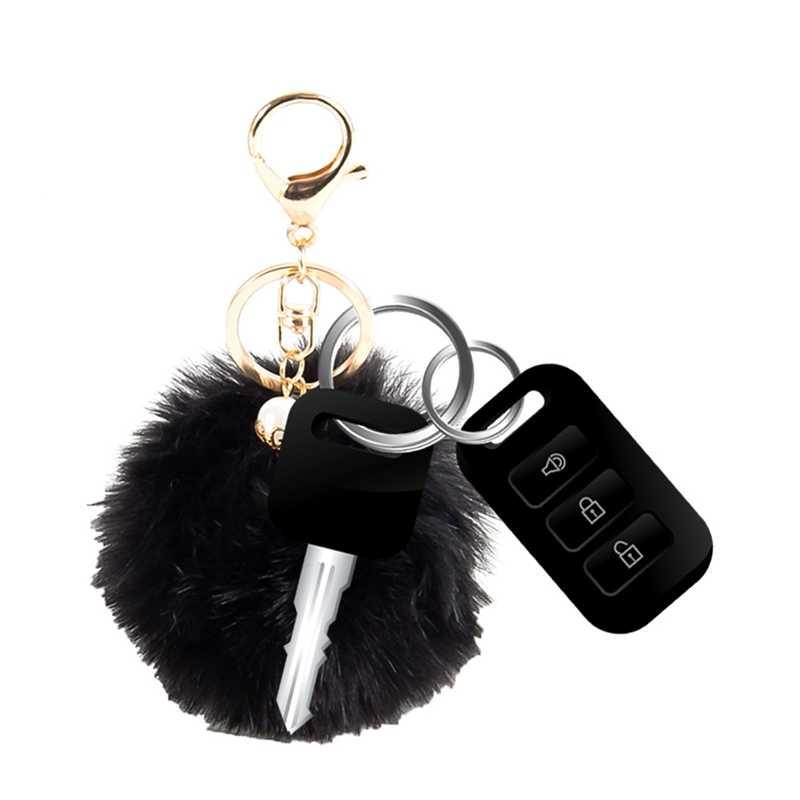 Super Fofo Mulheres Keychain Chave Anéis Da Cadeia de Bola De Pêlo Pompom Bonito Ornamentos Pingente Carro Acessórios Saco de presente de Natal
