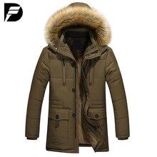 Новинка зимы Стиль теплые Для мужчин куртка толстый теплый меховой воротник длинные хлопковая куртка Для мужчин Удобная хлопковая парка с капюшоном Для мужчин