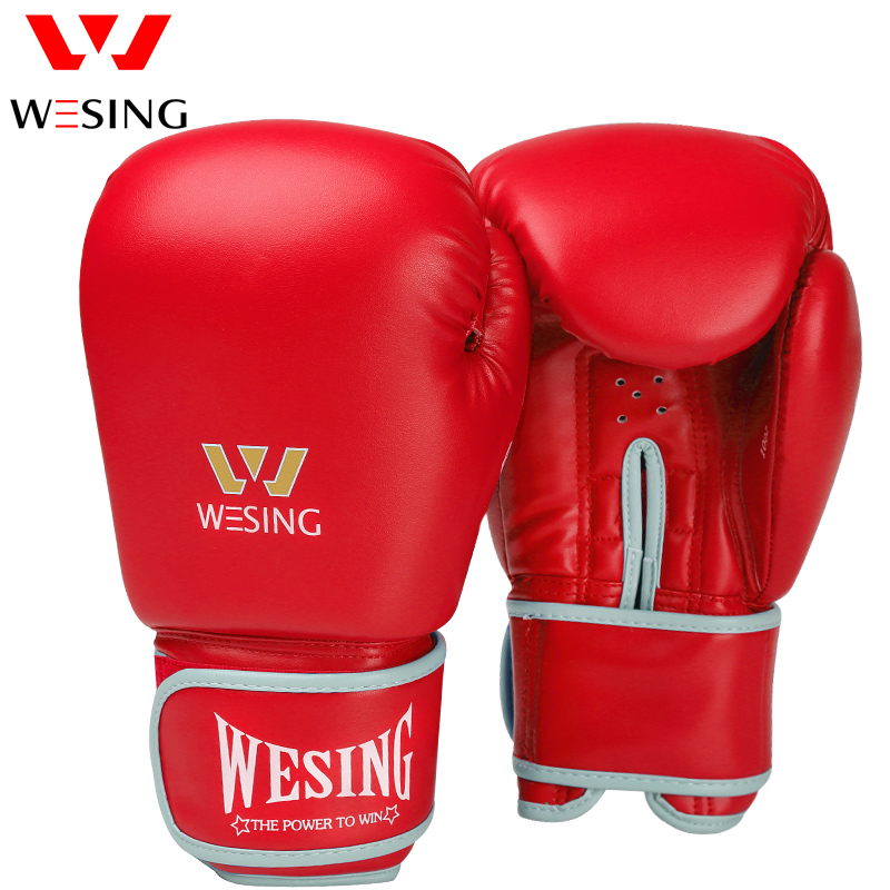 Wesing Boxing Gloves Training Sanda Gloves luvas Muay Thai Fight Leather Gloves luva box Pro Punch
