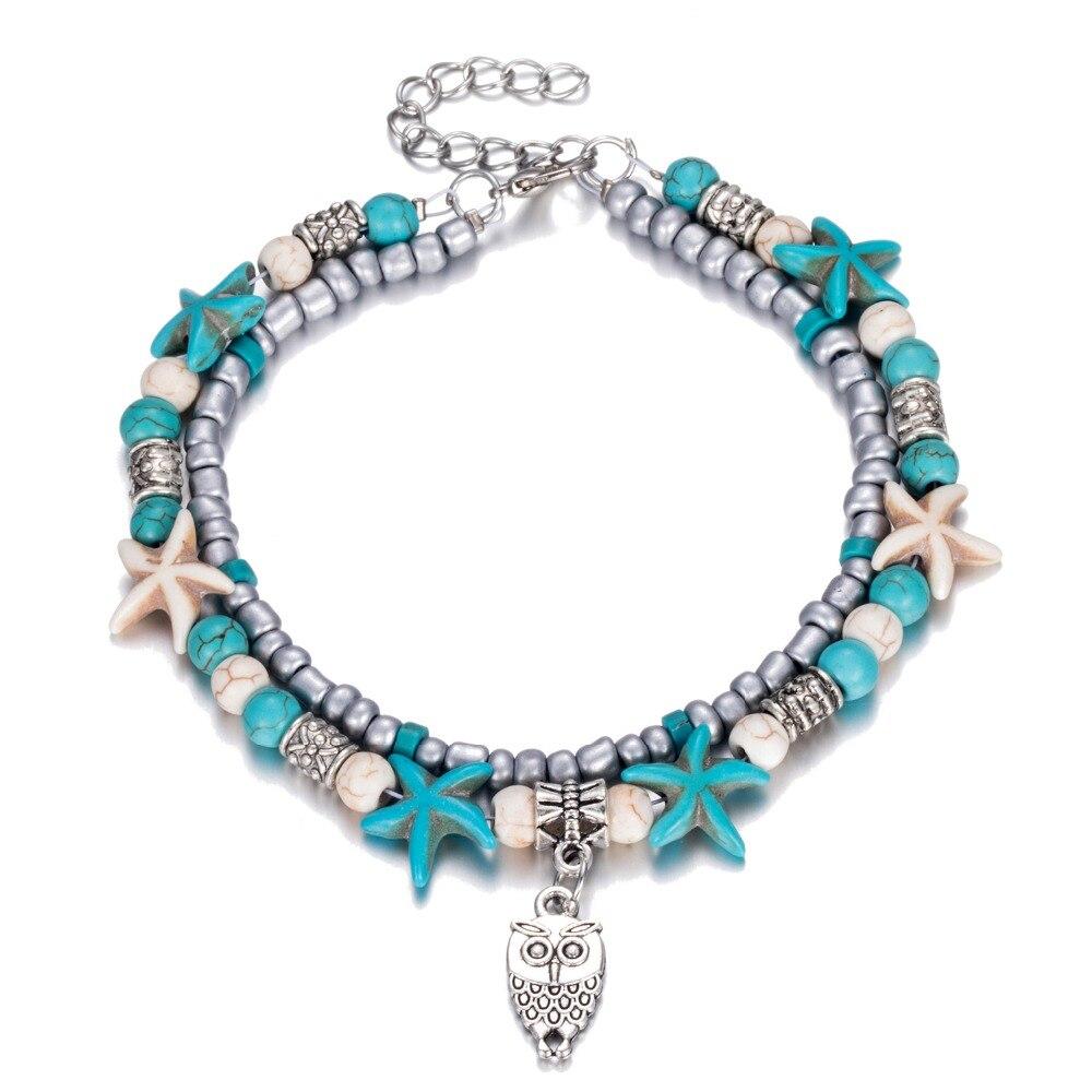 FAMSHIN Vintage Shell Beads Owl tobilleras para mujeres Nuevo Multi - Bisutería - foto 3