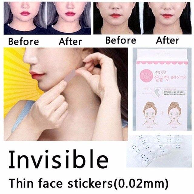 40 unids/set pegatinas faciales de cara delgada invisibles línea facial para arrugar la piel en forma de V cinta de estiramiento Facial Scotch para cara