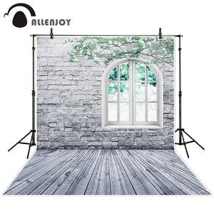 Image 2 - خلفية للتصوير من Allenjoy خلفية جدار من الطوب الأبيض نافذة غصين خلفية للاستوديو للأطفال الأميرة فتاة econ الفينيل photophone