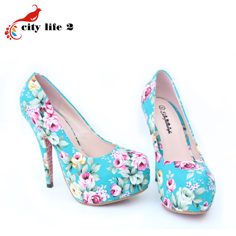 Vintage Floral Print font b Women b font Pumps 2015 Summer Shoes High Heels Cotton Large